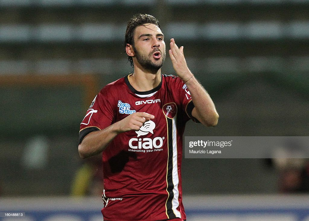 Gianmario Comi of Reggina celebrates after scoring his team's equalizing goal during the Serie B match between Reggina Calcio and Hellas Verona at Stadio Oreste Granillo on February 1, 2013 in Reggio Calabria, Italy.