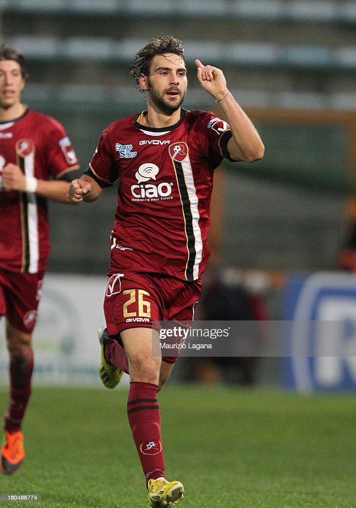 Gianmario Comi of Reggina celebrates after scoring the equalizing goal during the Serie B match between Reggina Calcio and Hellas Verona at Stadio Oreste Granillo on February 1, 2013 in Reggio Calabria, Italy.