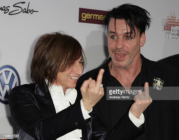 Gianna Nannini and Till Lindemann of the German band Rammstein gesture during for the Echo award 2011 at Palais am Funkturm on March 24 2011 in...