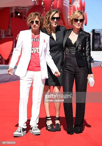 Gianna Nannini director Amy Berg and Radha Mitchell attend a premiere for 'Janis' during the 72nd Venice Film Festival at on September 6 2015 in...