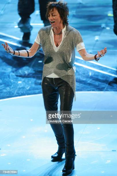 Gianna Nannini performs on stage during the fourth day of the 57th Sanremo Music Festival at Tetro Ariston on March 2 2007 in Sanremo Italy