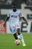 Giannelli Imbula of Marseille in action during the French Ligue 1 match between Olympique de Marseille and OGC Nice at Stade Velodrome on August 29...