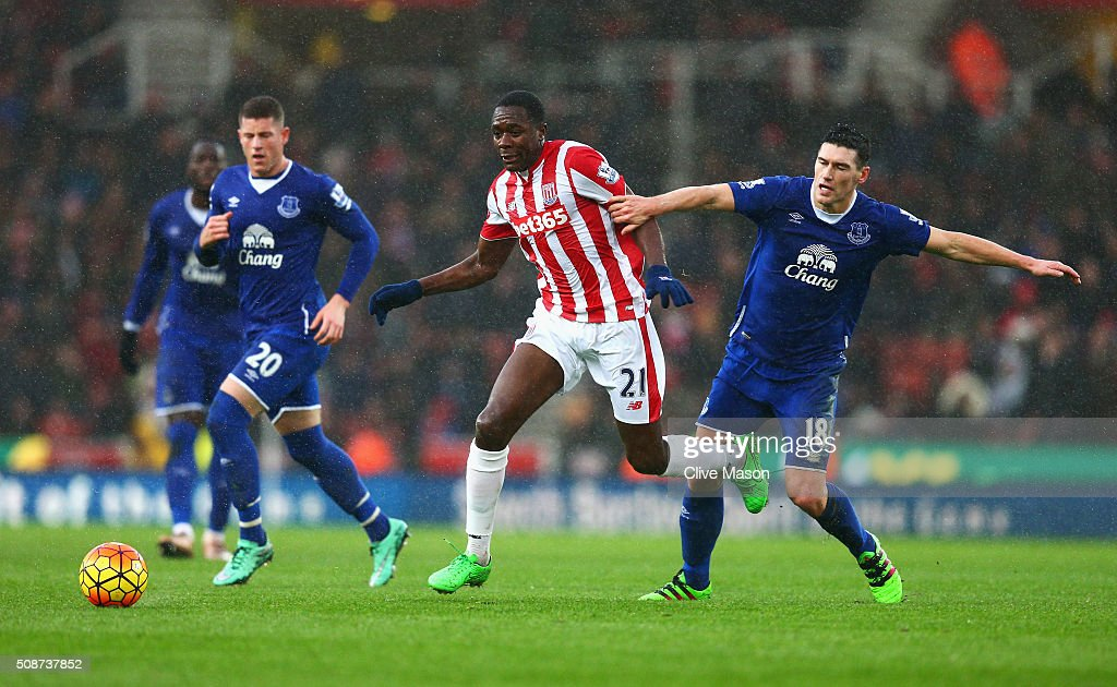 Giannelli Imbula of Stoke City and Gareth Barry of Everton compete for the ball during the Barclays Premier League match between Stoke City and Everton at Britannia Stadium on February 6, 2016 in Stoke on Trentl, England.