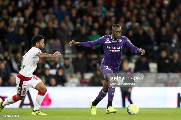 Giannelli Imbula of Toulouse during the Ligue 1 match between Toulouse and FC Girondins de Bordeaux at Stadium Municipal on September 15 2017 in...