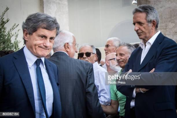 Gianni Alemanno attends during The Carla Fendi Funeral At Chiesa degli Artisti