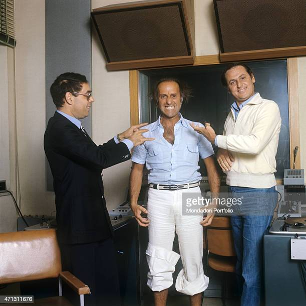 Gianni Boncompagni and Renzo Arbore joke with the comedian Giorgio Bracardi in a pause during the radio broadcast Alto Gradimento Rome 1976