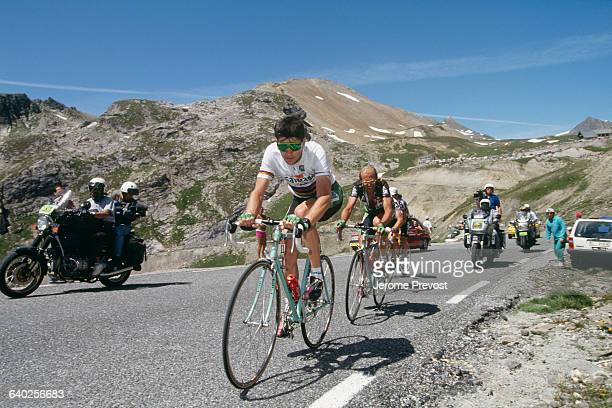 Gianni Bugno from Italy and French rider Laurent Fignon from France during the 1992 Tour de France