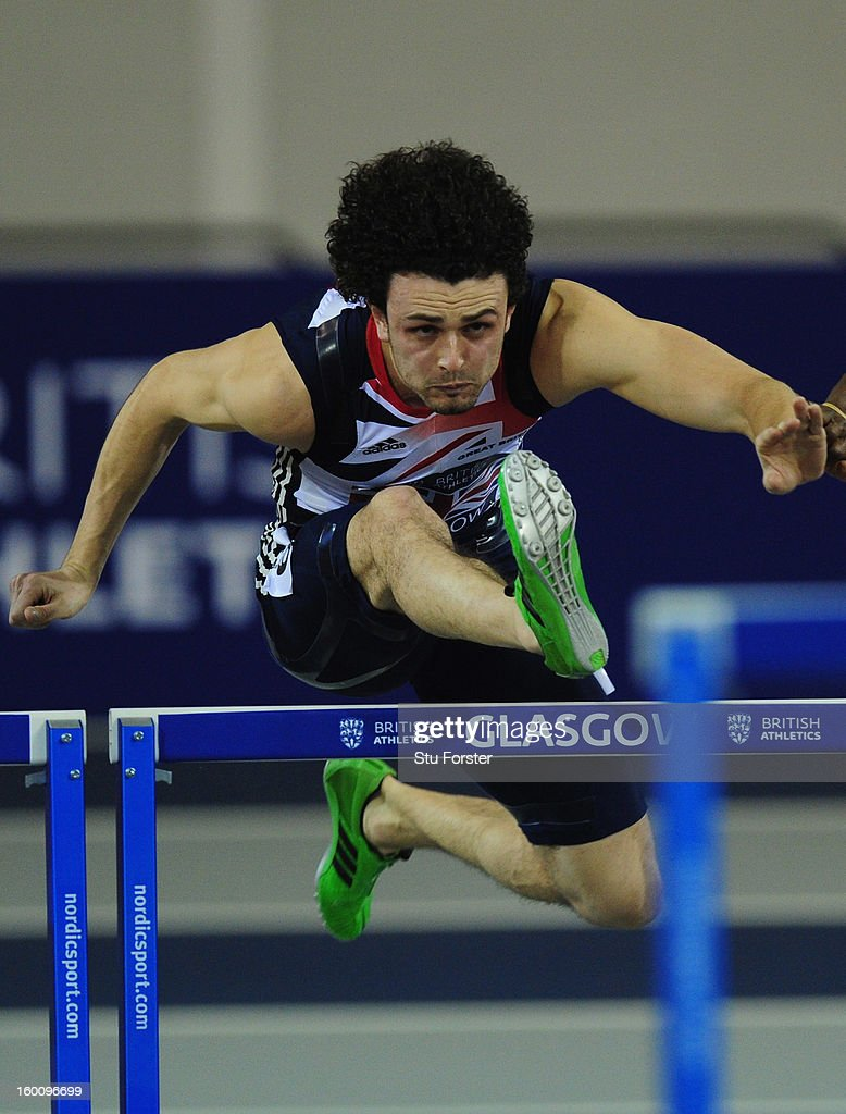 Gianni Frankis of Great Britain in action in the Mens 60 metres Hurdles during the British Athletics International Match at the Emirates Arena on January 26, 2013 in Glasgow, Scotland.