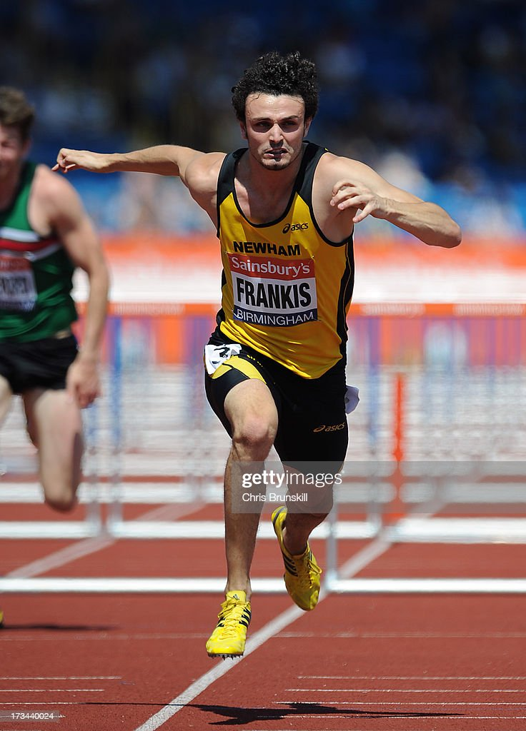 Gianni Frankis wins his 110m hurdles heat during day three of the Sainsbury's British Championships, British Athletics World Trials and UK & England Championships at Alexander Palace on July 14, 2013 in Birmingham, England.