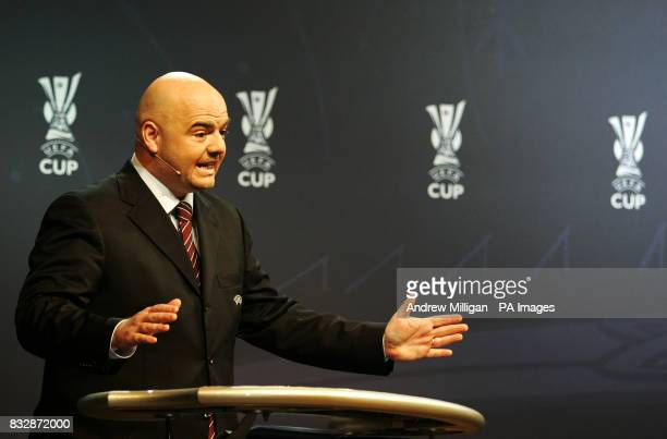 Gianni Infantino acting UEFA Chief Executive during the UEFA Cup Handover and Final Phase Draw held at the historic Old Fruitmarket at the City Halls...