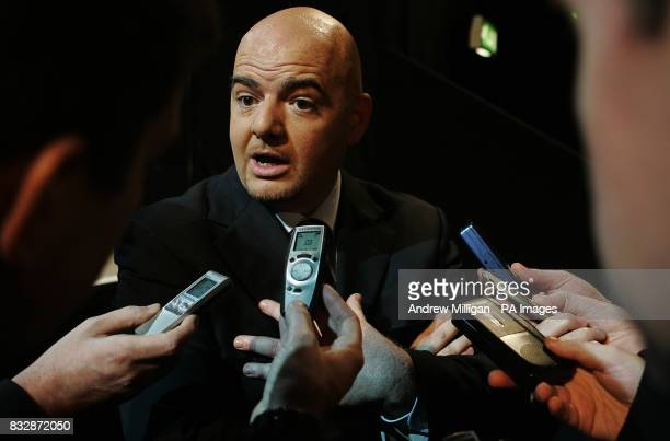 Gianni Infantino acting UEFA Chief Executive speaks to the media during the UEFA Cup Handover and Final Phase Draw held at the historic Old...