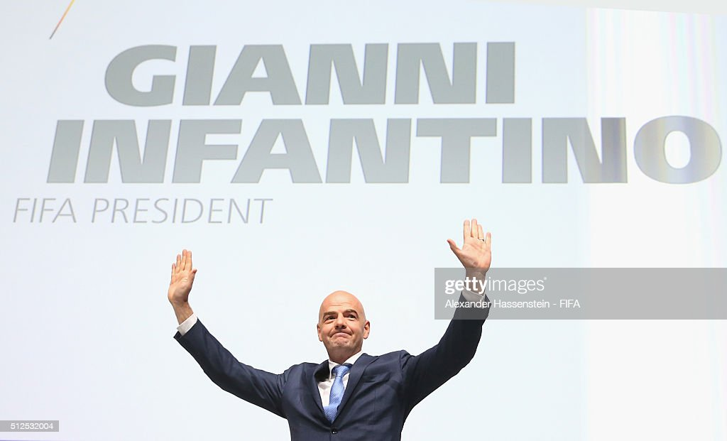 Gianni Infantino celebrates after being elected as the new FIFA President during the Extraordinary FIFA Congress at Hallenstadion on February 26, 2016 in Zurich, Switzerland.