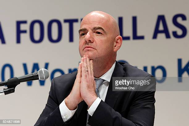 Gianni Infantino FIFA President attends a press conference on April 27 2016 in Seoul South Korea President Gianni held meetings with FIFA Partners...