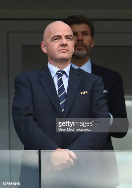 Gianni Infantino FIFA President looks on prior to the FIFA Confederations Cup Russia 2017 Group B match between Australia and Germany at Fisht...