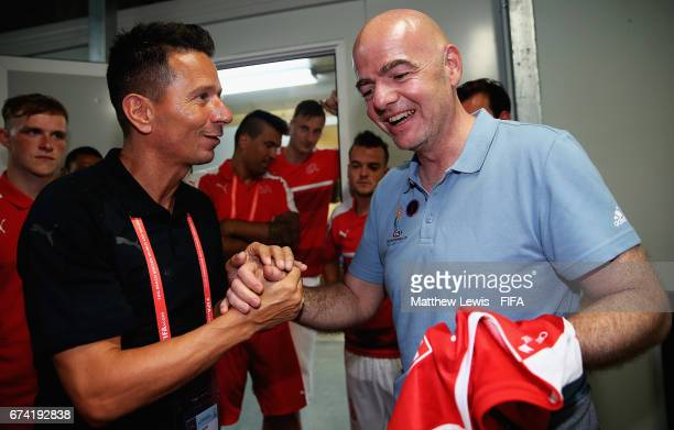 Gianni Infantino FIFA President pictured with Head coach / Manager of Switzerland Angelo Schirinzi after the FIFA Beach Soccer World Cup Bahamas 2017...