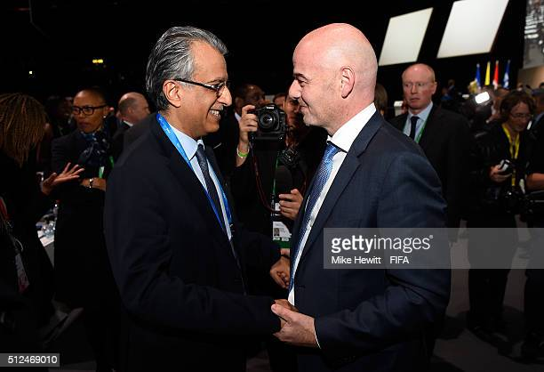 Gianni Infantino is congratulated by Sheikh Salman Bin Ebrahim Al Khalifa after being elected as the new FIFA President during the Extraordinary FIFA...