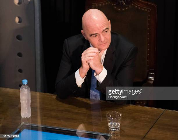 Gianni Infantino president of FIFA looks on during a press conference at AFA as part of the official visit of President of FIFA Gianni Infantino to...