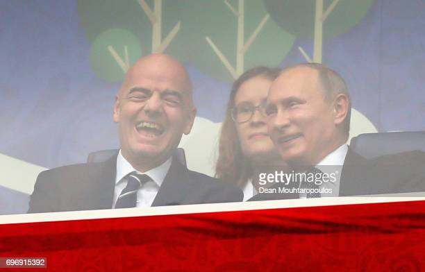 Gianni Infantino President of FIFA talk with Russian President Vladimir Putin prior to the FIFA Confederations Cup Russia 2017 Group A match between...
