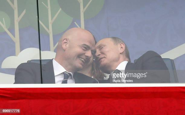Gianni Infantino President of FIFA talks with Russian President Vladimir Putin prior to the FIFA Confederations Cup Russia 2017 Group A match between...