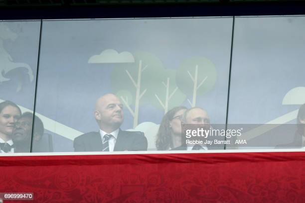 Gianni Infantino President of FIFA with Russian President Vladimir Putin prior to the Group A FIFA Confederations Cup Russia 2017 match between...