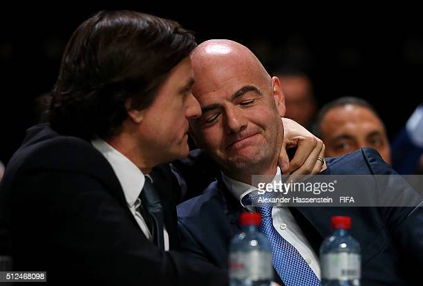 Gianni Infantino reacts after being elected as the new FIFA President during the Extraordinary FIFA Congress at Hallenstadion on February 26 2016 in...