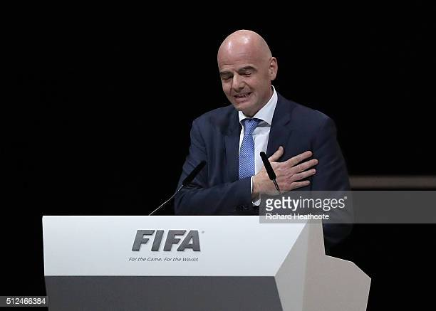 Gianni Infantino talks after being elected as the new FIFA President during the Extraordinary FIFA Congress at Hallenstadion on February 26 2016 in...