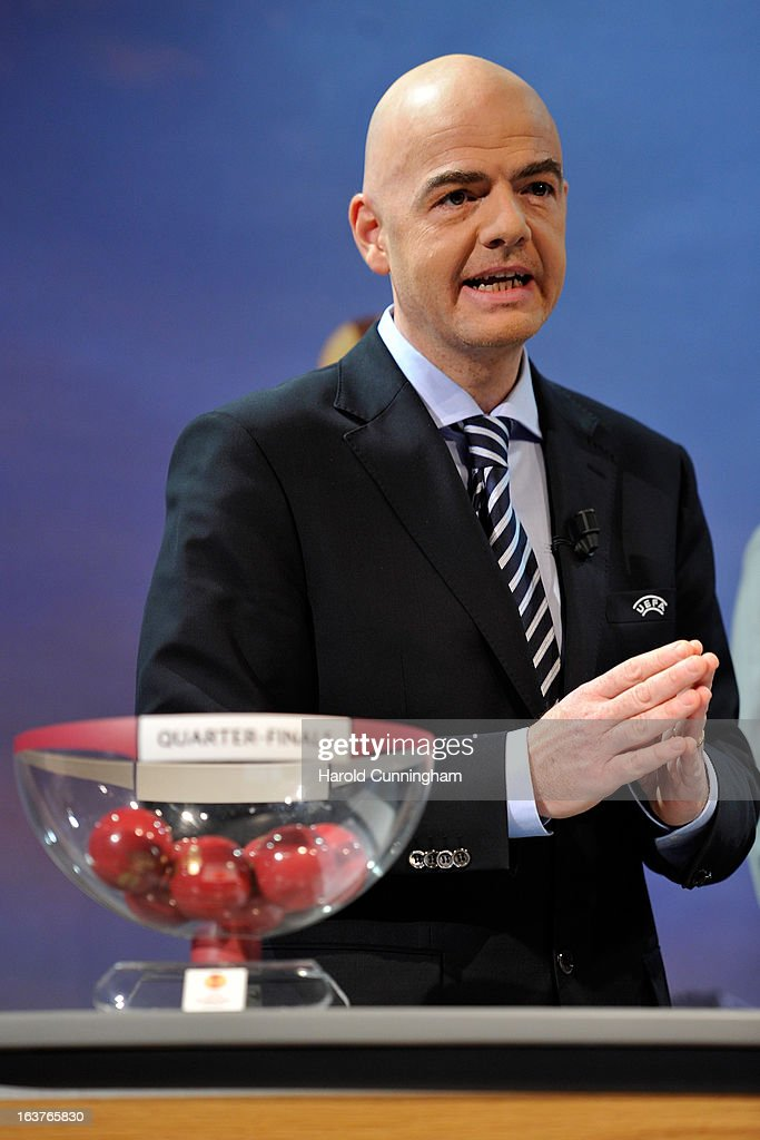 Gianni Infantino, UEFA General Secretary speaks on stage during the UEFA Europa League quarter finals draw at the UEFA headquarters on March 15, 2013 in Nyon, Switzerland.