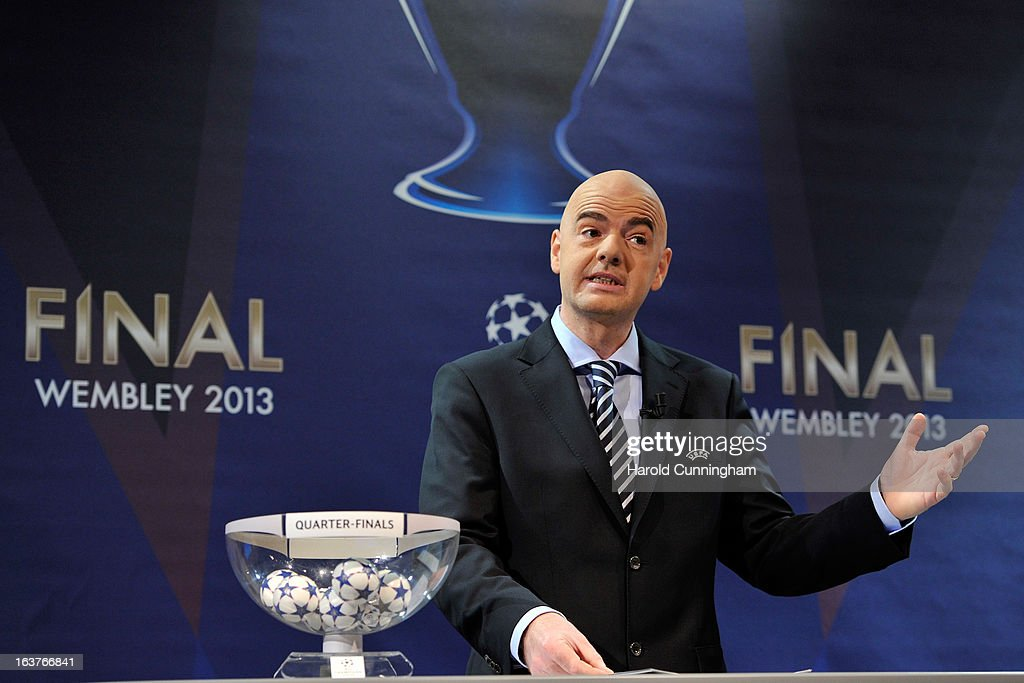 Gianni Infantino, UEFA General Secretary, speaks on stage during UEFA Champions League quarter finals draw at the UEFA headquarters on March 15, 2013 in Nyon, Switzerland.
