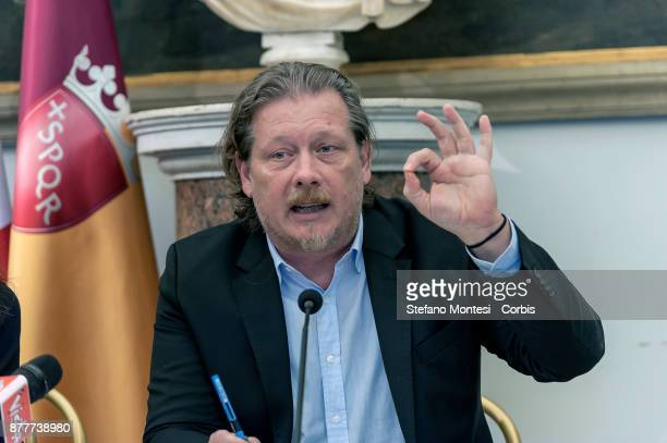 Gianni Lemmetti Councillor for the Budget present the Draft Budget Forecast for the 20182020 for Rome Capital on November 23 2017 in Rome Italy