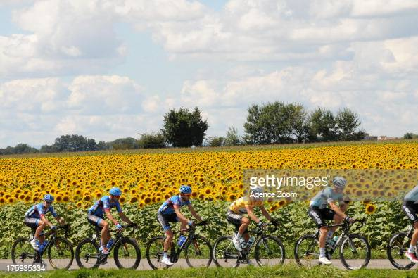 Gianni Meersman of Team Omega PharmaQuickstep in the yellow jersey during Stage One of the Tour de l'Ain on August 10 2013 from Lagnieu to...