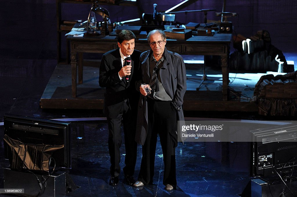 Gianni Morandi and Adriano Celentano attend the opening night of the 62th Sanremo Song Festival at the Ariston Theatre on February 14 2012 in San...