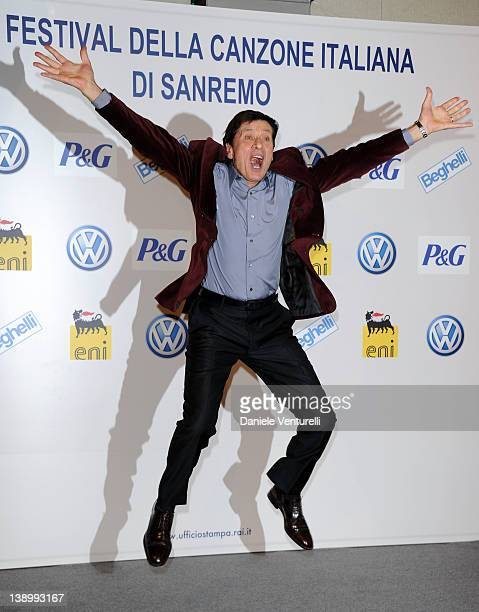 Gianni Morandi attends a photocall during the day 2 of the 62th San Remo Song Festival 2012 on February 15 2012 in San Remo Italy