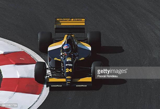 Gianni Morbidelli of Italy drives the Minardi Team Minardi M192 Lamborghini V12 during practice for the RhonePoulenc French Grand Prix on 4 July 1992...
