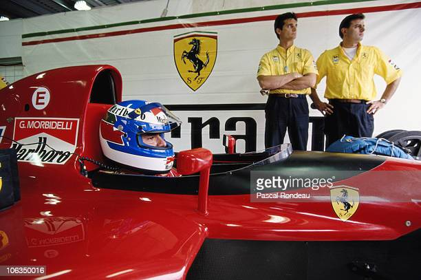 Gianni Morbidelli replaces Alain Prost as driver of the Scuderia Ferrari SpA Ferrari 643 Ferrari 35 V12 during practice for the Foster's Australian...