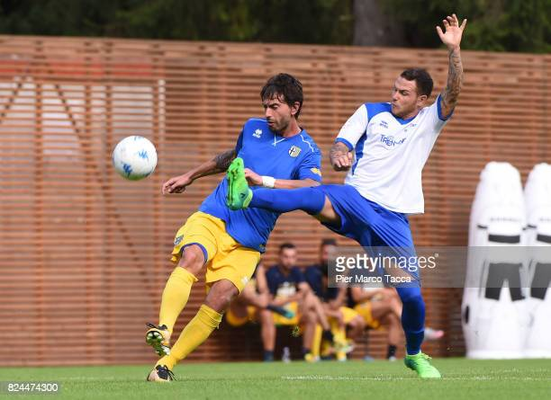 Gianni Munari of Parma Calcio competes for the ball during the preseason friendly match between Parma Calcio and Dro on July 30 2017 in Pinzolo near...