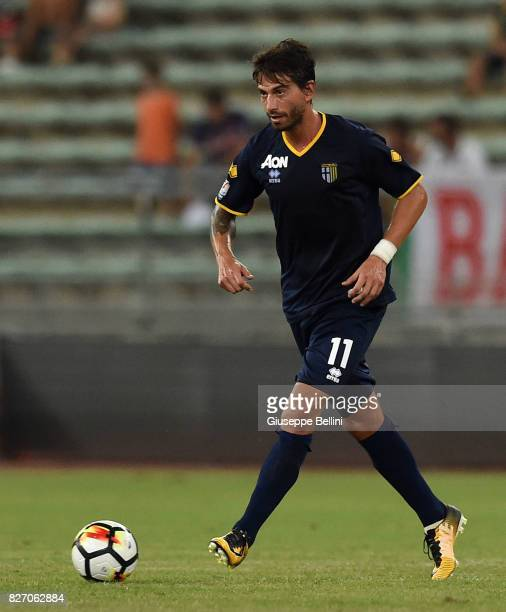 Gianni Munari of Parma Calcio in action during the TIM Cup match between AS Bari and Parma Calcio at Stadio San Nicola on August 6 2017 in Bari Italy