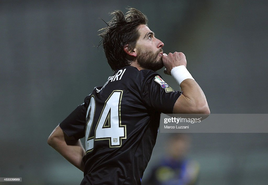 Gianni Munari of Parma FC celebrates his goal during the Tim Cup match between Parma FC and AS Varese at Stadio Ennio Tardini on December 3 2013 in...