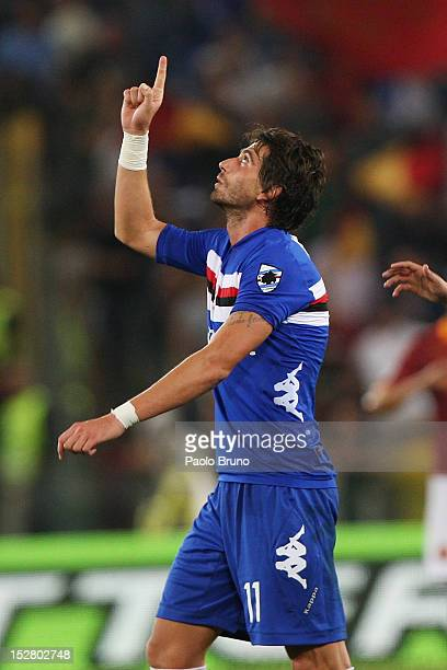 Gianni Munari of UC Sampdoria celebrates after scoring his first team's goal during the Serie A match between AS Roma and UC Sampdoria at Stadio...