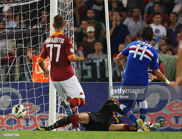 Gianni Munari of UC Sampdoria scores his first team's goal during the Serie A match between AS Roma and UC Sampdoria at Stadio Olimpico on September...