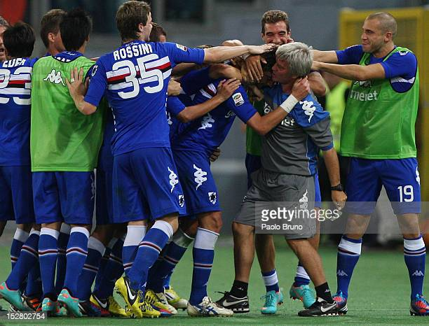 Gianni Munari with his teammates of UC Sampdoria celebrates after scoring his first team's goal during the Serie A match between AS Roma and UC...