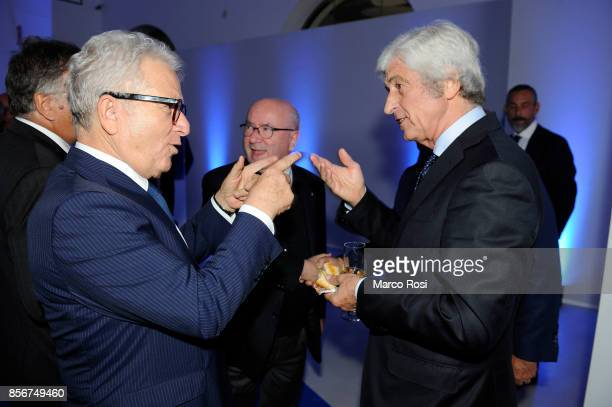 Gianni Rivera former player AC Milan and Vincenzo Matarrese attend the new Italian Football Federation logo unveiling at Maxxi Museum on October 2...