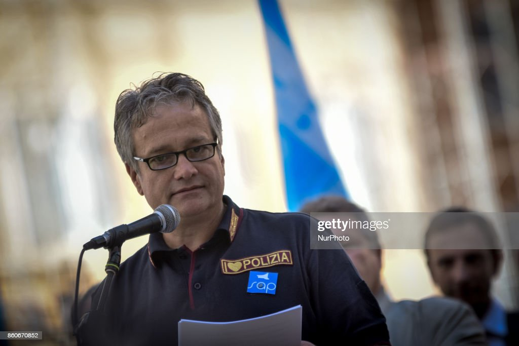 Gianni Tonelli, secretary of the Autonomous Police union during Protest in Piazza Montecitorio of the police unions Sap, Sappe and Conapo, against the government to ask for an extraordinary plan of hirings and a dignified contractual increase for the law enforcement, in Rome, Italy, 12 October 2017