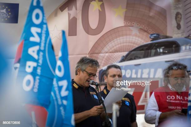 Gianni Tonelli secretary of the Autonomous Police union during Protest in Piazza Montecitorio of the police unions Sap Sappe and Conapo against the...