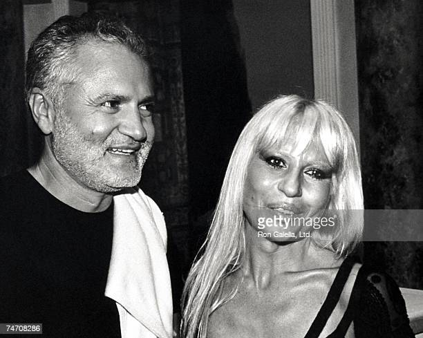 Gianni Versace and Donatella Versace at the Versace Jeans Couture Boutique in Miami Florida