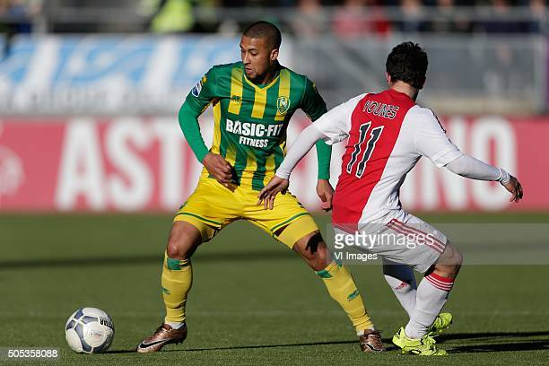 Gianni Zuiverloon of ADO Den Haag Amin Younes of Ajax during the Dutch Eredivisie match between ADO Den Haag and Ajax Amsterdam at Kyocera stadium on...