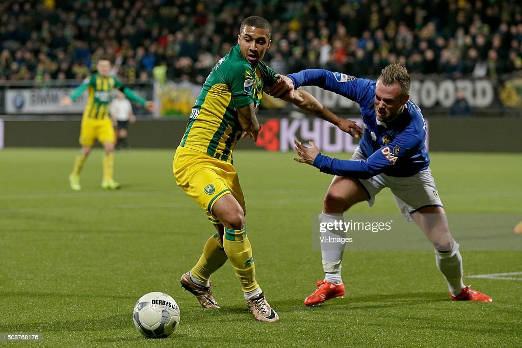 Gianni Zuiverloon of ADO Den Haag, Jordy Buijs of Roda JC during the Dutch Eredivisie match between ADO Den Haag and Roda JC Kerkrade at Kyocera stadium on February 06, 2016 in The Hague, The Netherlands