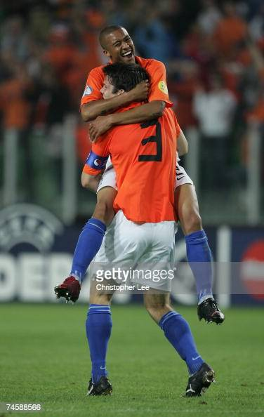 Gianni Zuiverloon of Holland celebrates their victory with Ron Vlaar during the UEFA U21 Championship Group A match between Netherlands U21 and...