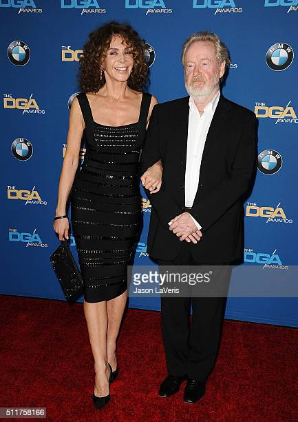 Giannina Facio and Ridley Scott attend the 68th annual Directors Guild of America Awards at the Hyatt Regency Century Plaza on February 6 2016 in Los...