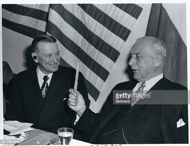 AP Giannini founder of the Bank of America gives some advice to Harry C McClelland newly appointed member of the Italian mission of the European...