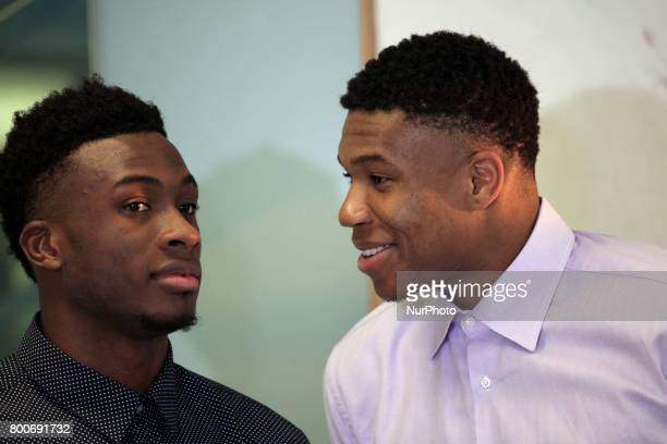 Giannis and Thanasis Antetokounmpo at the Onassis Cultural Centre in Athens Greece June 24 2017 The two brothers discussed about the difficulties...